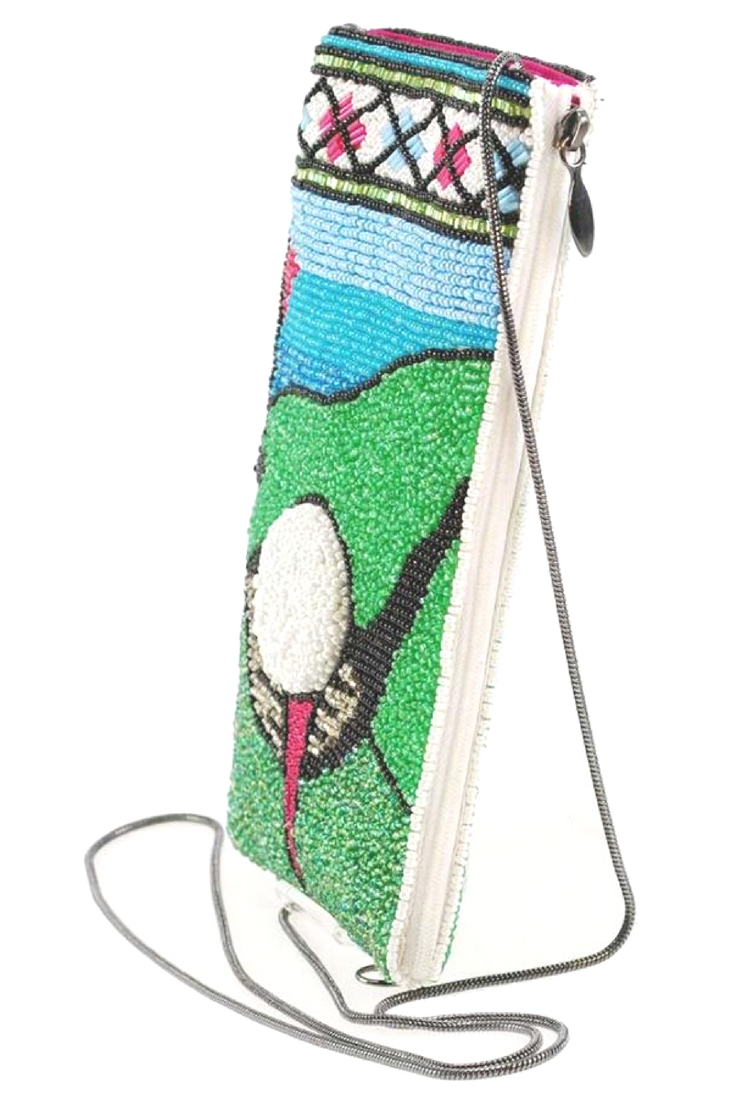 Mary Frances FAIRWAY GOLF THEME BEADED CROSS BODY PHONE BAG - Side Cropped Image