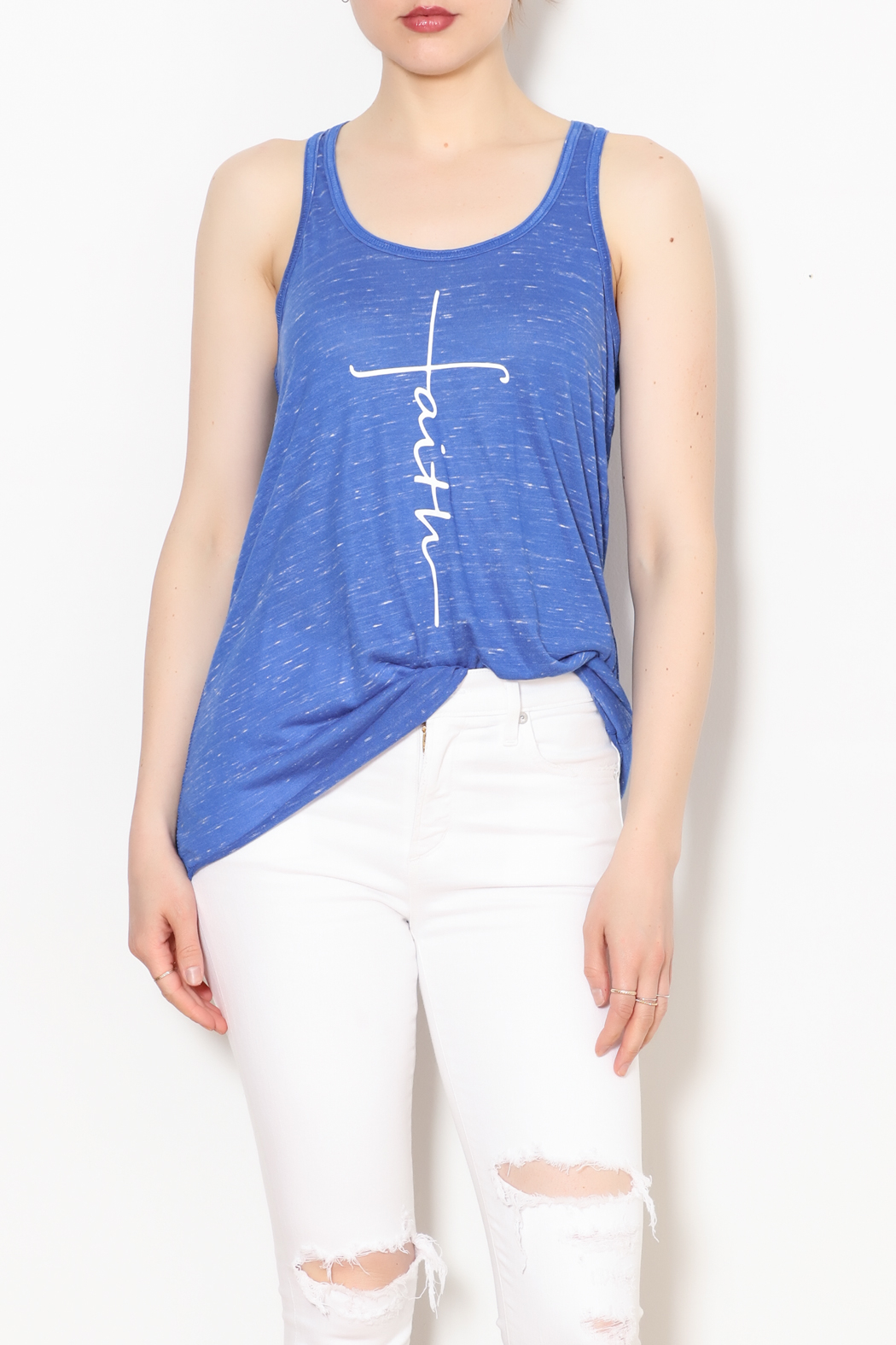 K&K Faith Cross Tank - Front Cropped Image