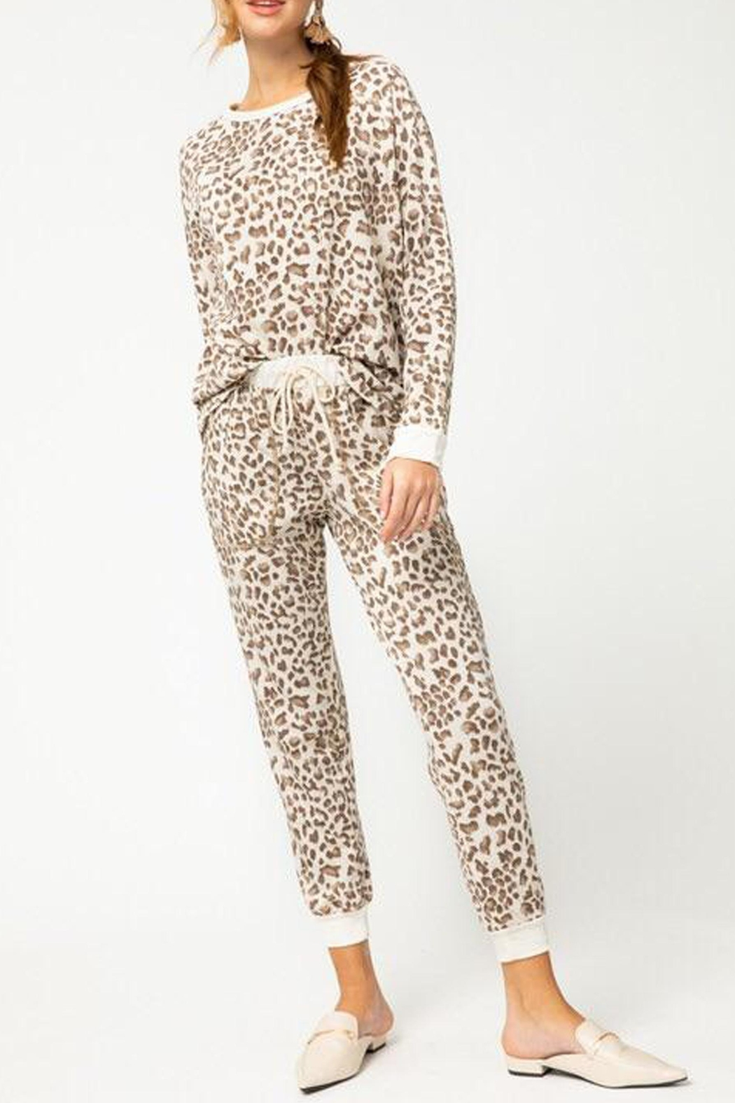 Faith Apparel Lauryn Leopard Loungewear - Front Cropped Image