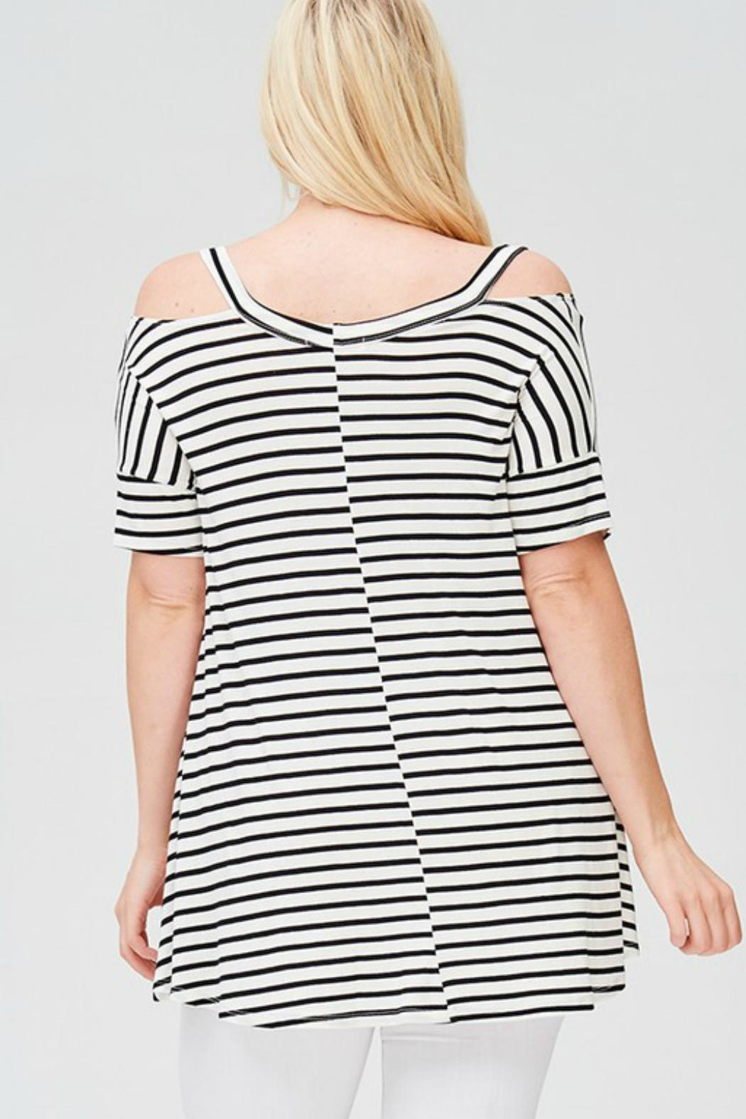 Faith Apparel Striped Open-Shoulder Top - Side Cropped Image