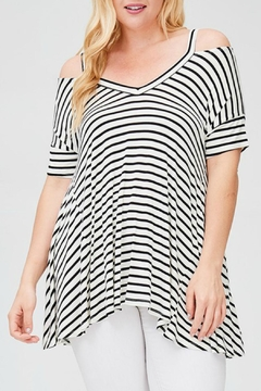 Faith Apparel Striped Open-Shoulder Top - Product List Image