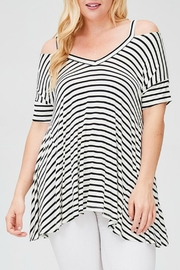 Faith Apparel Striped Open-Shoulder Top - Product Mini Image