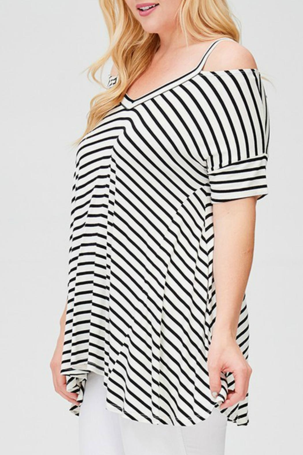 Faith Apparel Striped Open-Shoulder Top - Front Full Image