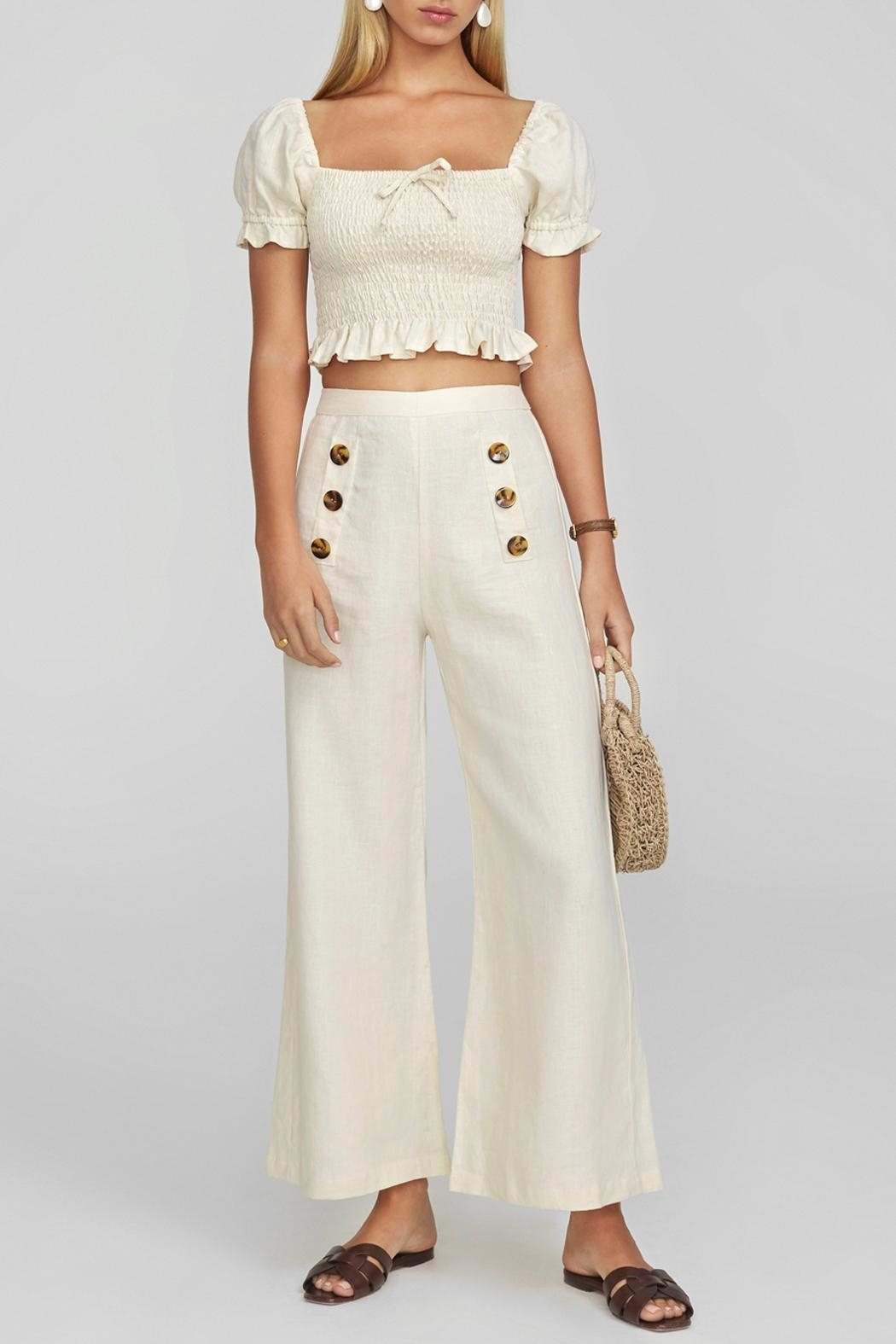 Faithfull The Brand Adita Linen Pants - Front Cropped Image