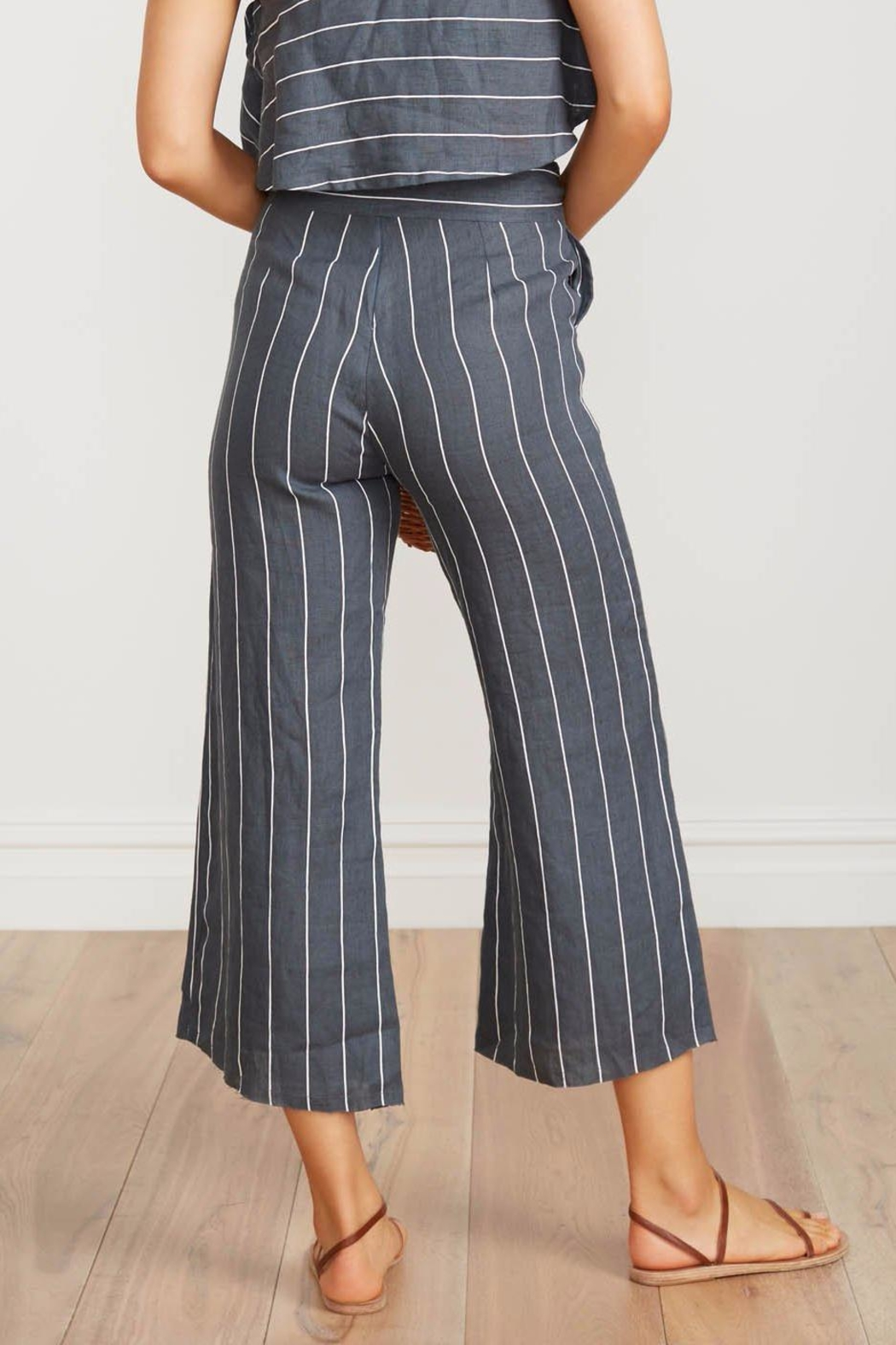 Faithfull The Brand Striped Linen Culottes - Back Cropped Image