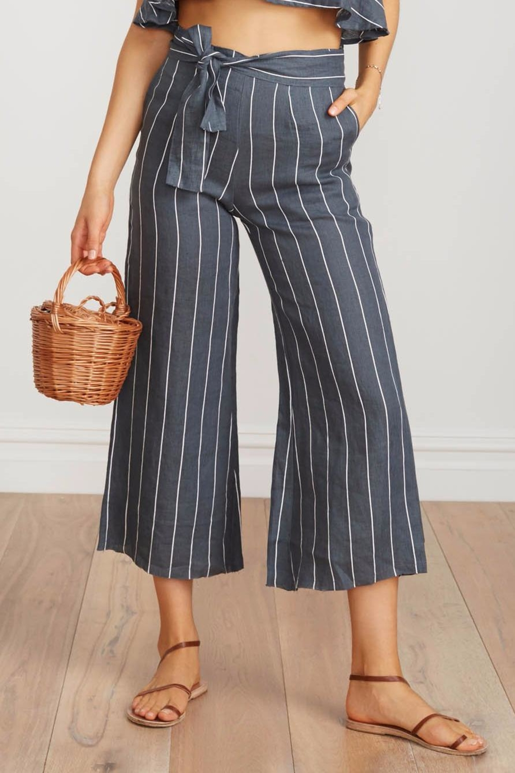 Faithfull The Brand Striped Linen Culottes - Side Cropped Image