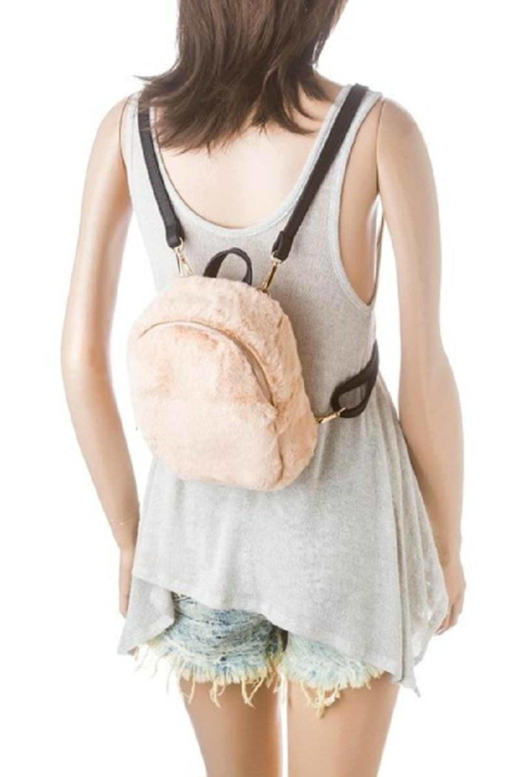 Girly Faux Fur Backpack - Front Full Image