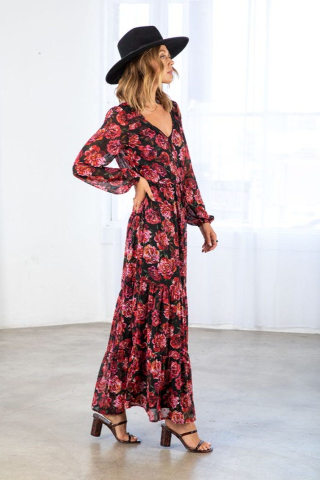 Lovestitch Fall Bloom Dress - Back Cropped Image