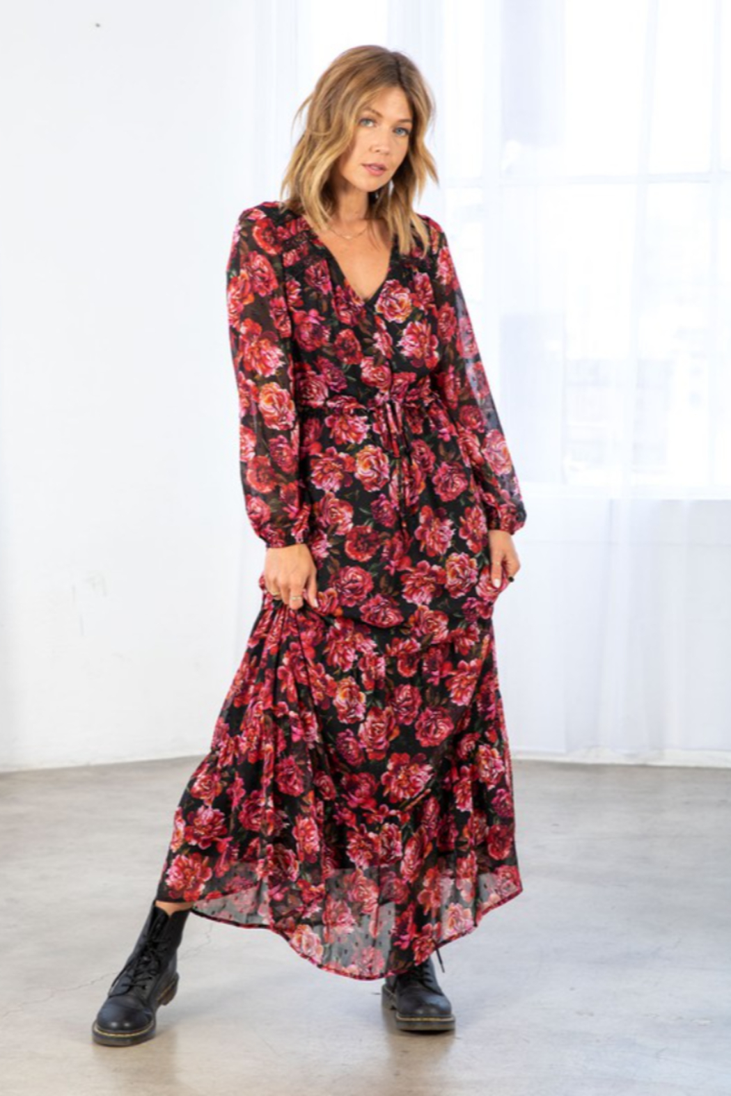 Lovestitch Fall Bloom Dress - Side Cropped Image