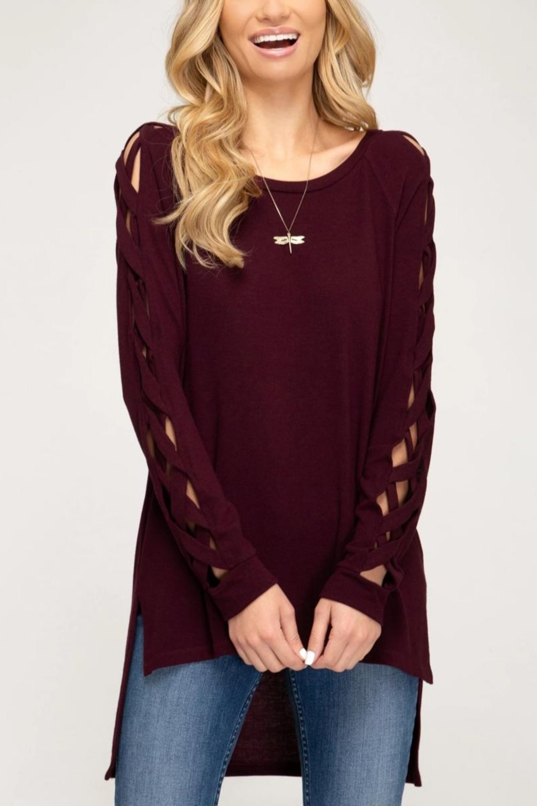 She + Sky Fall Fave Sweater - Front Cropped Image