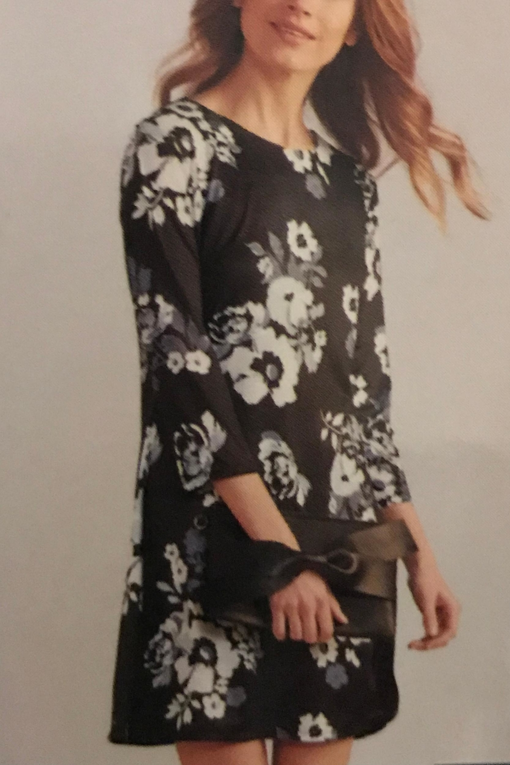 Charlie Paige Fall Floral Dress - Front Cropped Image