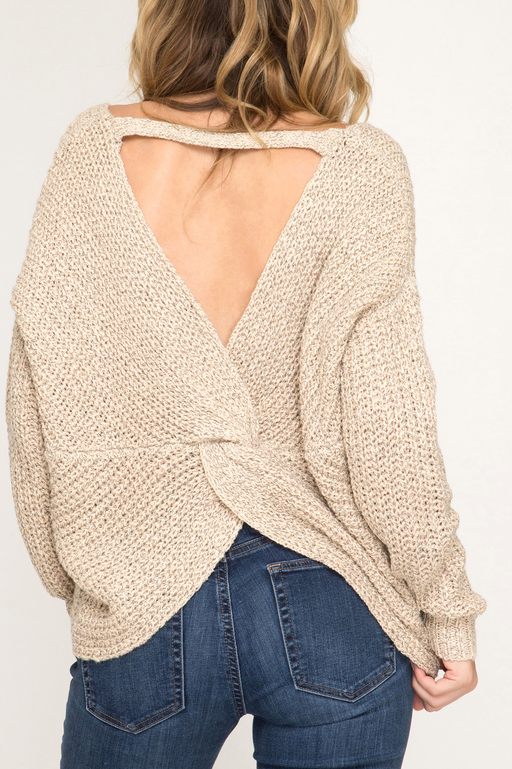 She + Sky Fall Twist sweater - Front Full Image