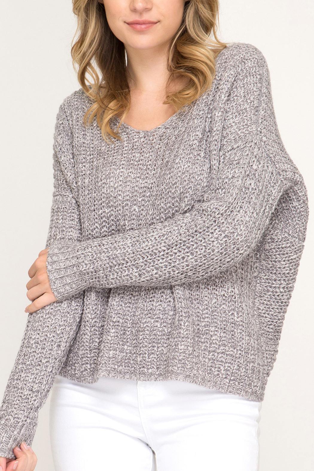 She + Sky Fall Twist sweater - Front Cropped Image