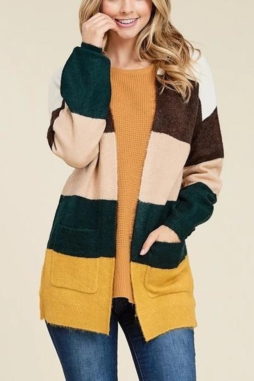 Staccato Falling Into Stripes Cardigan - Main Image