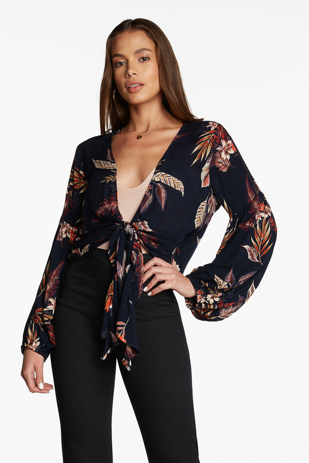 Patrons of Peace FALLING  LEAVES WRAP TOP - Front Cropped Image