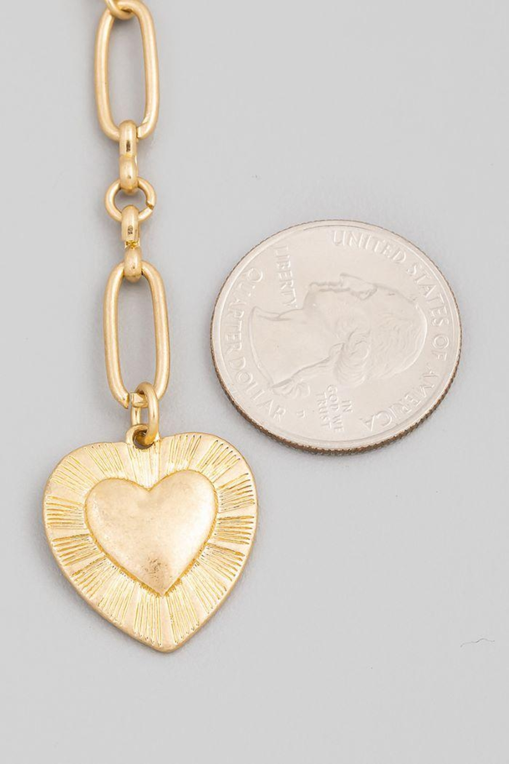 Fame Accessories Chain Link Heart Pendant Necklace - Front Full Image