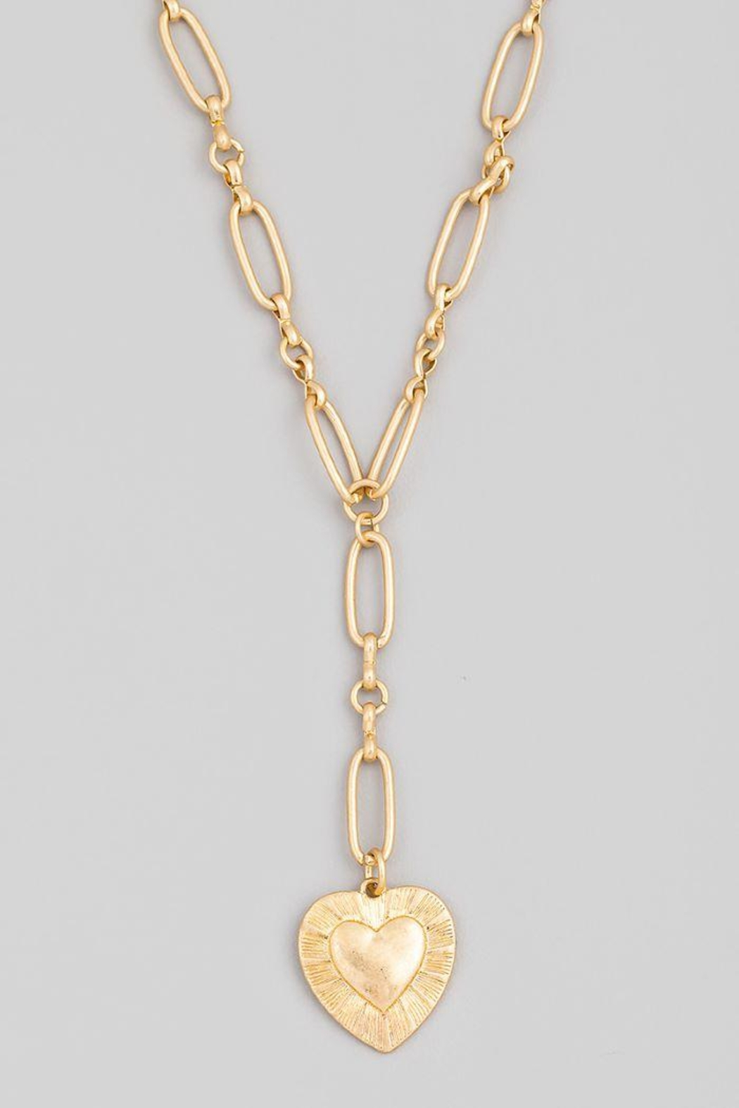 Fame Accessories Chain Link Heart Pendant Necklace - Main Image