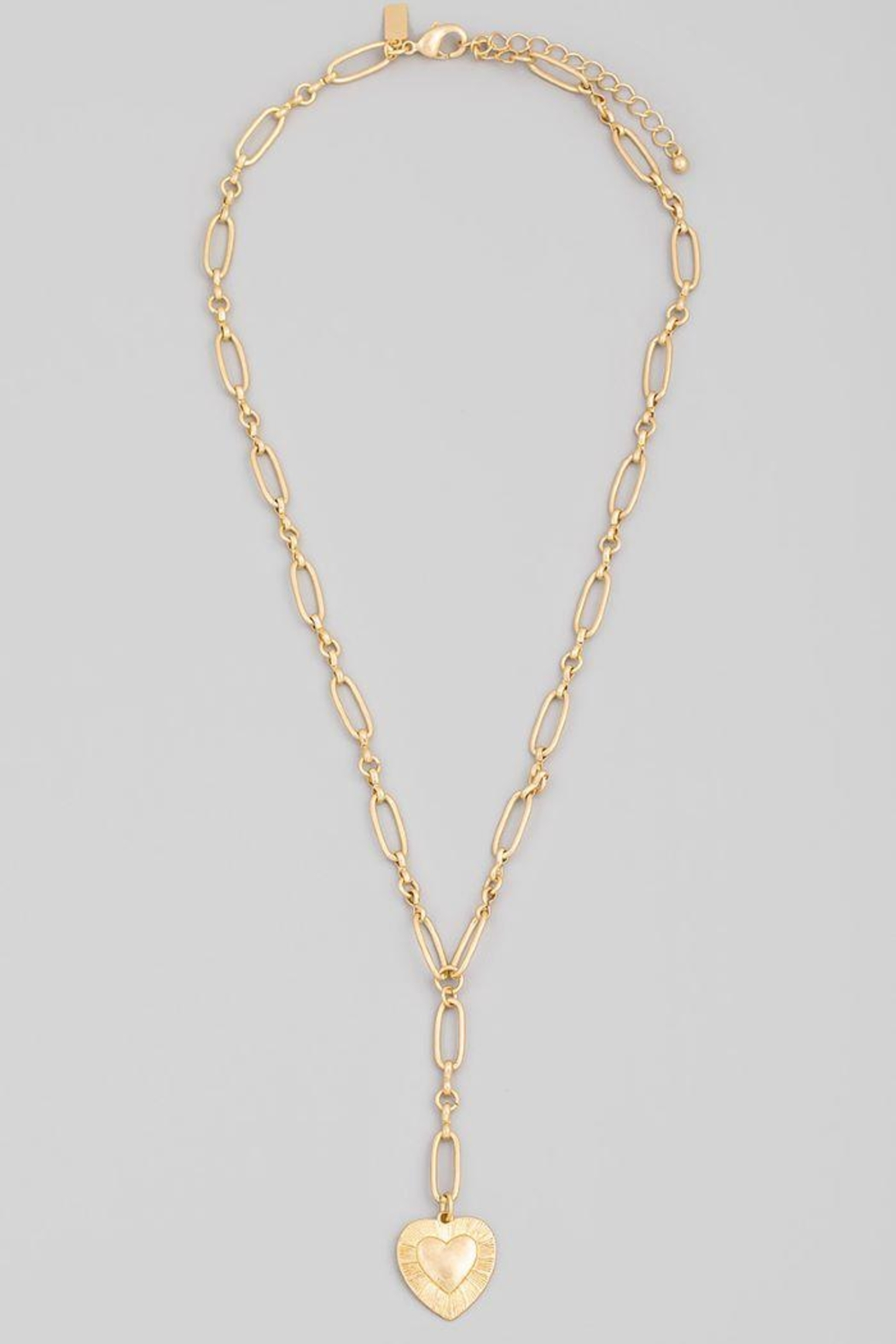 Fame Accessories Chain Link Heart Pendant Necklace - Side Cropped Image
