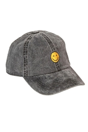 Fame Accessories Faded Denim Happy Face Baseball Cap - Product Mini Image