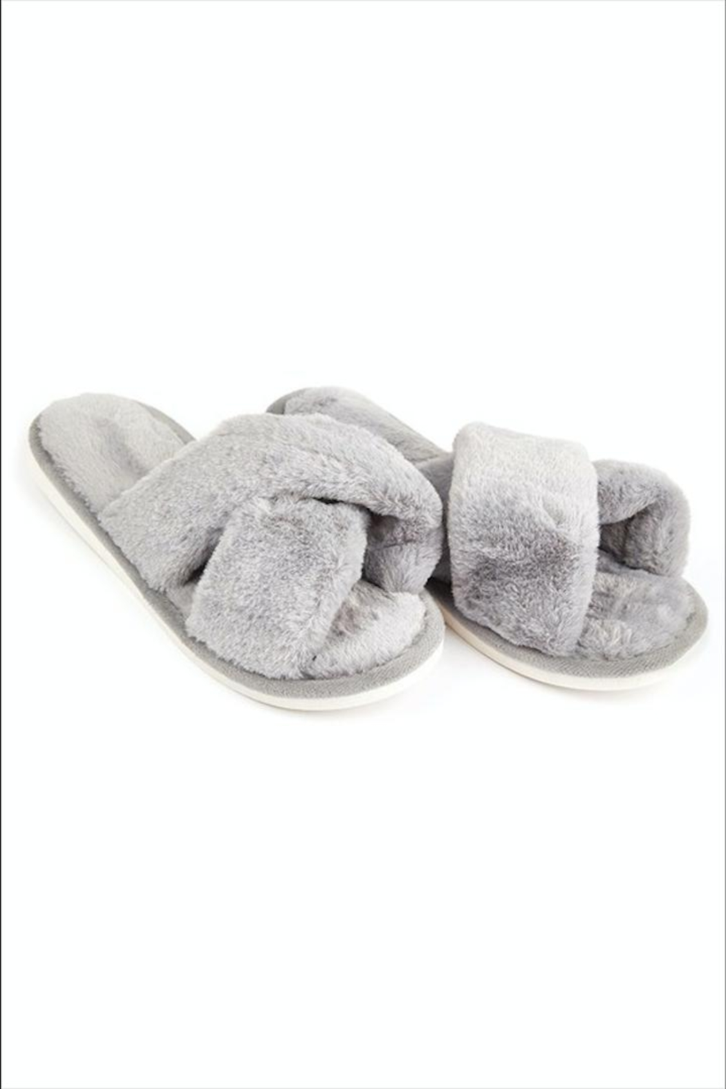 Fame Accessories Faux-Fur Open Slippers - Main Image