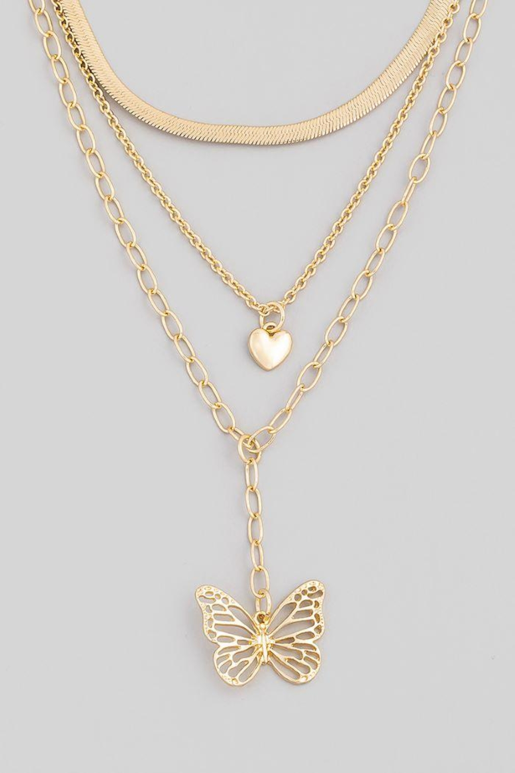 Fame Accessories Heart Butterfly Pendant Necklace - Front Full Image
