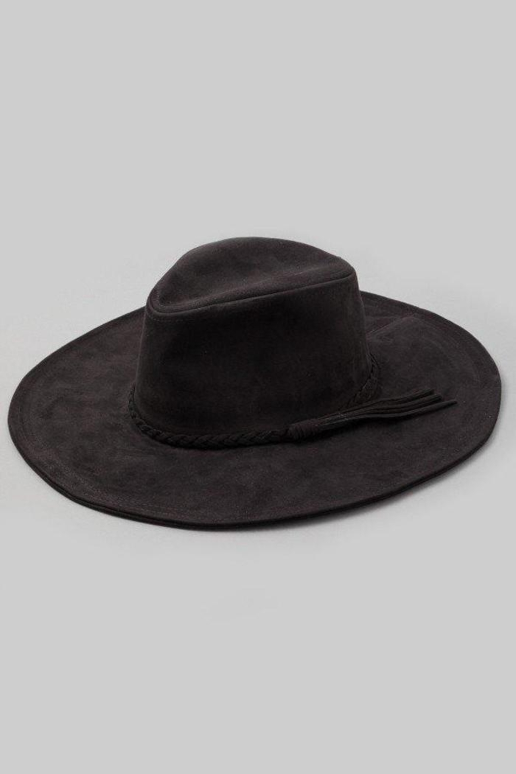 Fame Accessories Joshua Tree (Vegan) Suede Hat In Black - Front Cropped Image