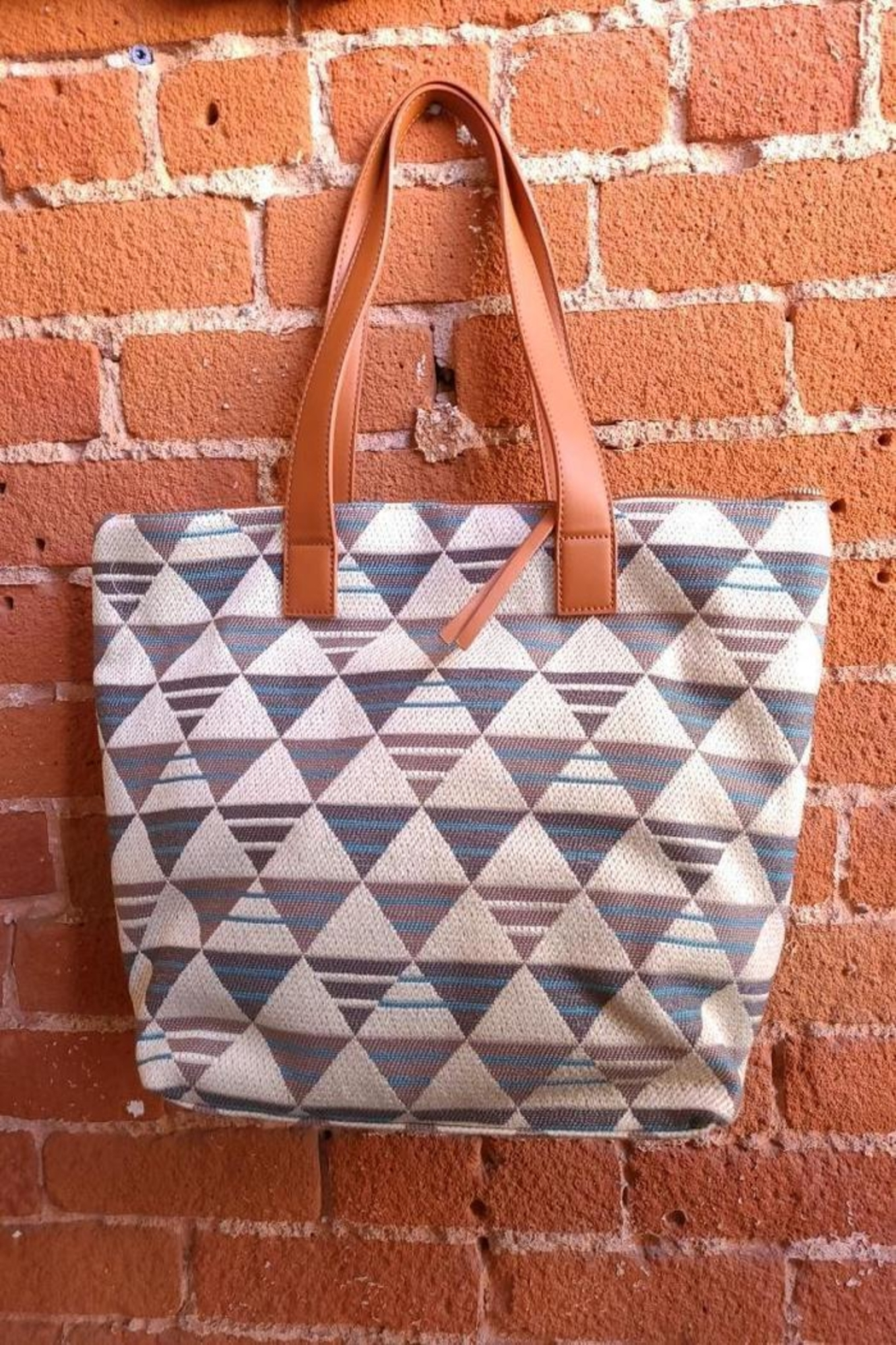Fame Accessories Large Woven Geo Tote In Blue - Main Image