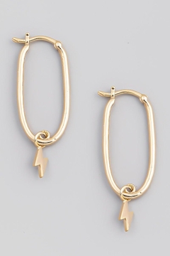 Fame Accessories Lightning Bolt Hoop Earring In Gold - Alternate List Image