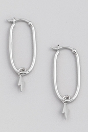 Fame Accessories Lightning Bolt Hoop Earring In Silver - Product Mini Image