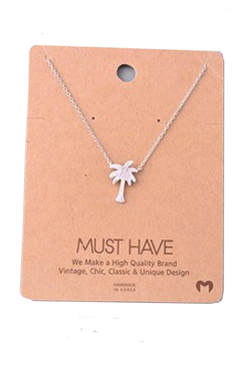 Fame Accessories Silver Palmtree Necklace - Main Image