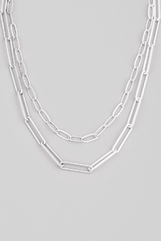 Fame Accessories Silver Paperclip Chain Link Necklace - Product Mini Image