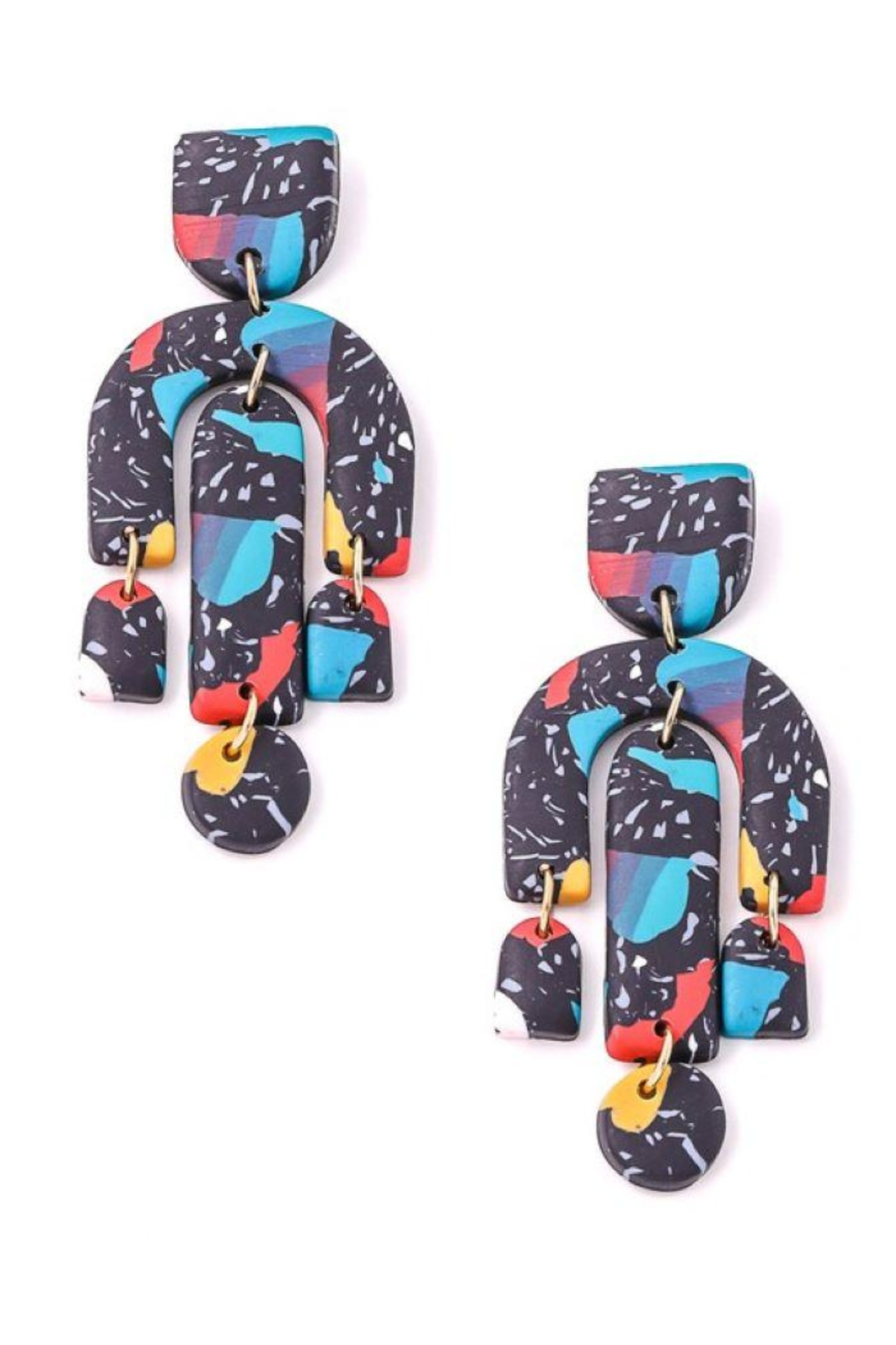 Fame Accessories Vibrant Abstract Dangle Drop Earrings - Main Image