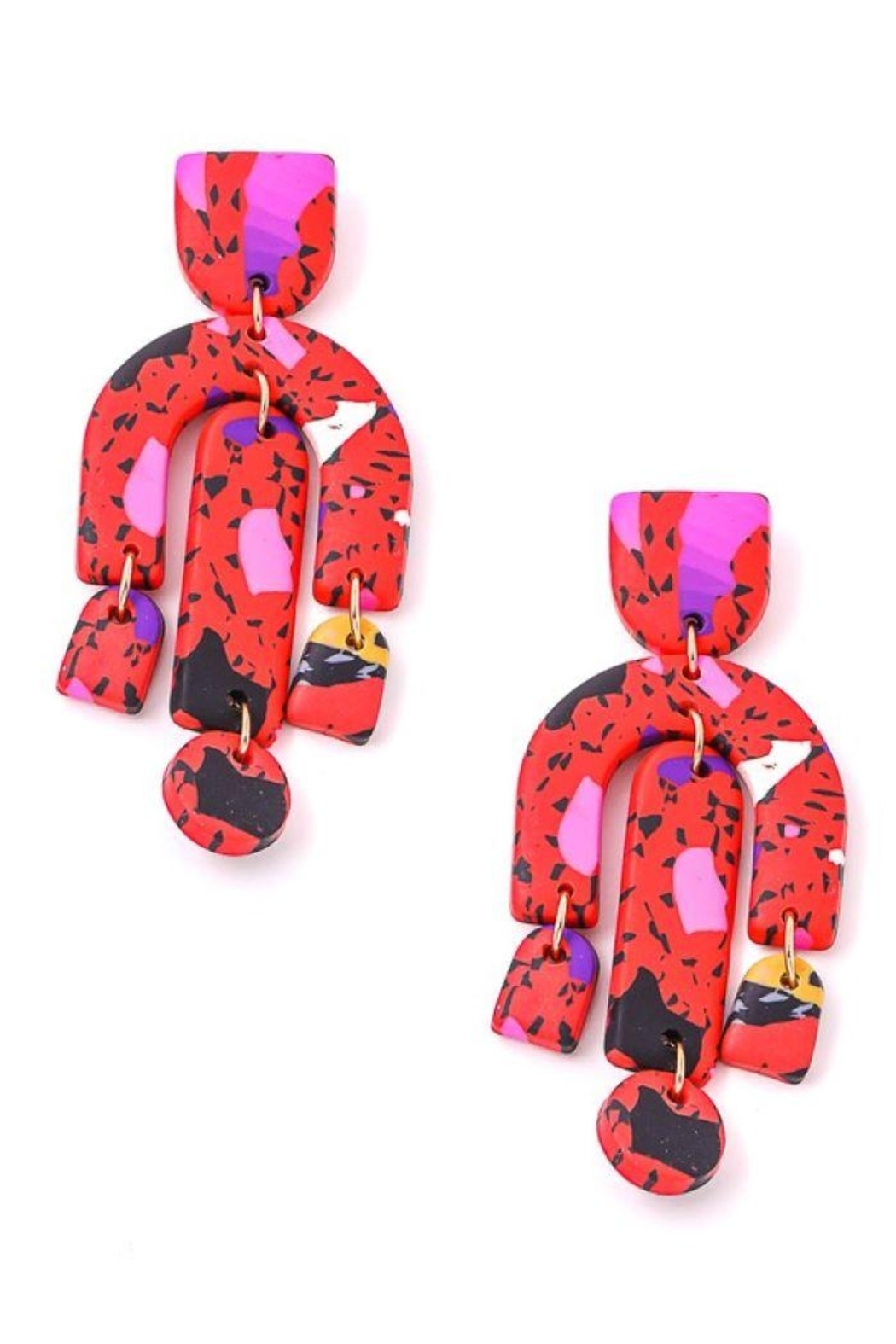 Fame Accessories Vibrant Abstract Dangle Drop Earrings - Front Cropped Image