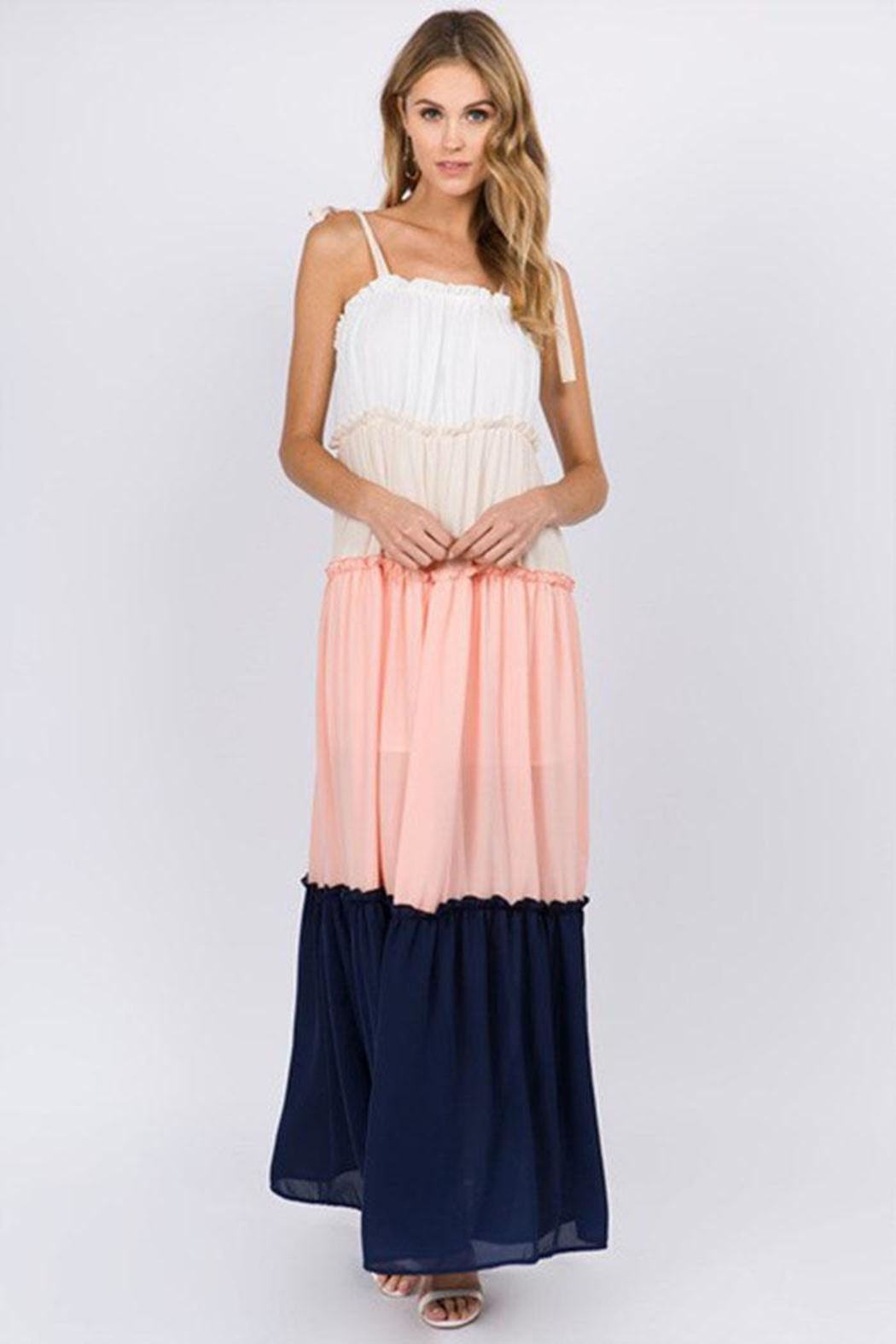 FANCO Color-Block Maxi Dress - Front Full Image