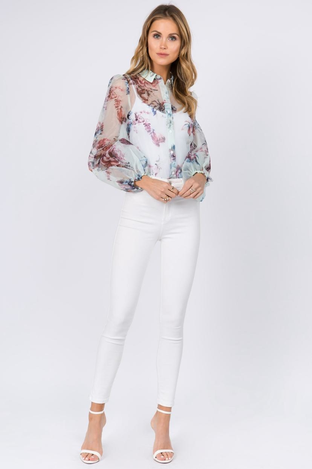 FANCO Mint Floral Top - Front Full Image