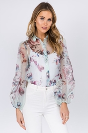FANCO Mint Floral Top - Front cropped