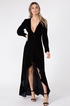 FANCO Navy Velvet Maxi-Dress - Product List Image
