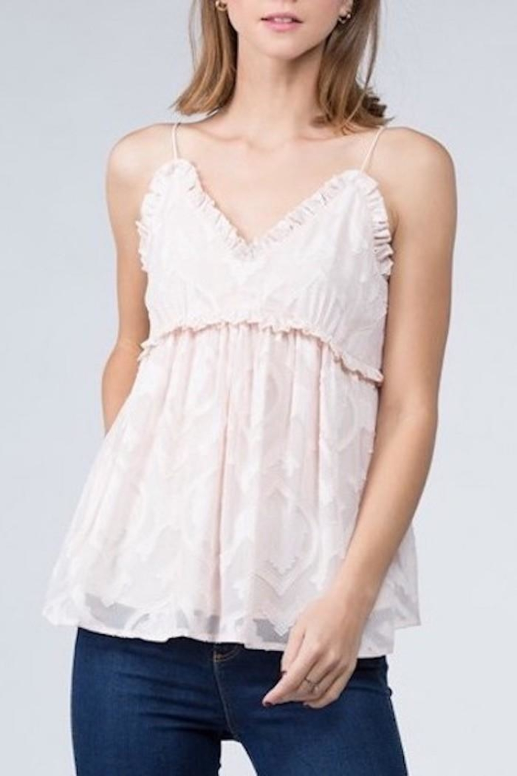 FANCO Ruffle Lace Cami - Front Cropped Image
