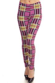 Fancy Fans Peach Plaid Leggings - Product Mini Image