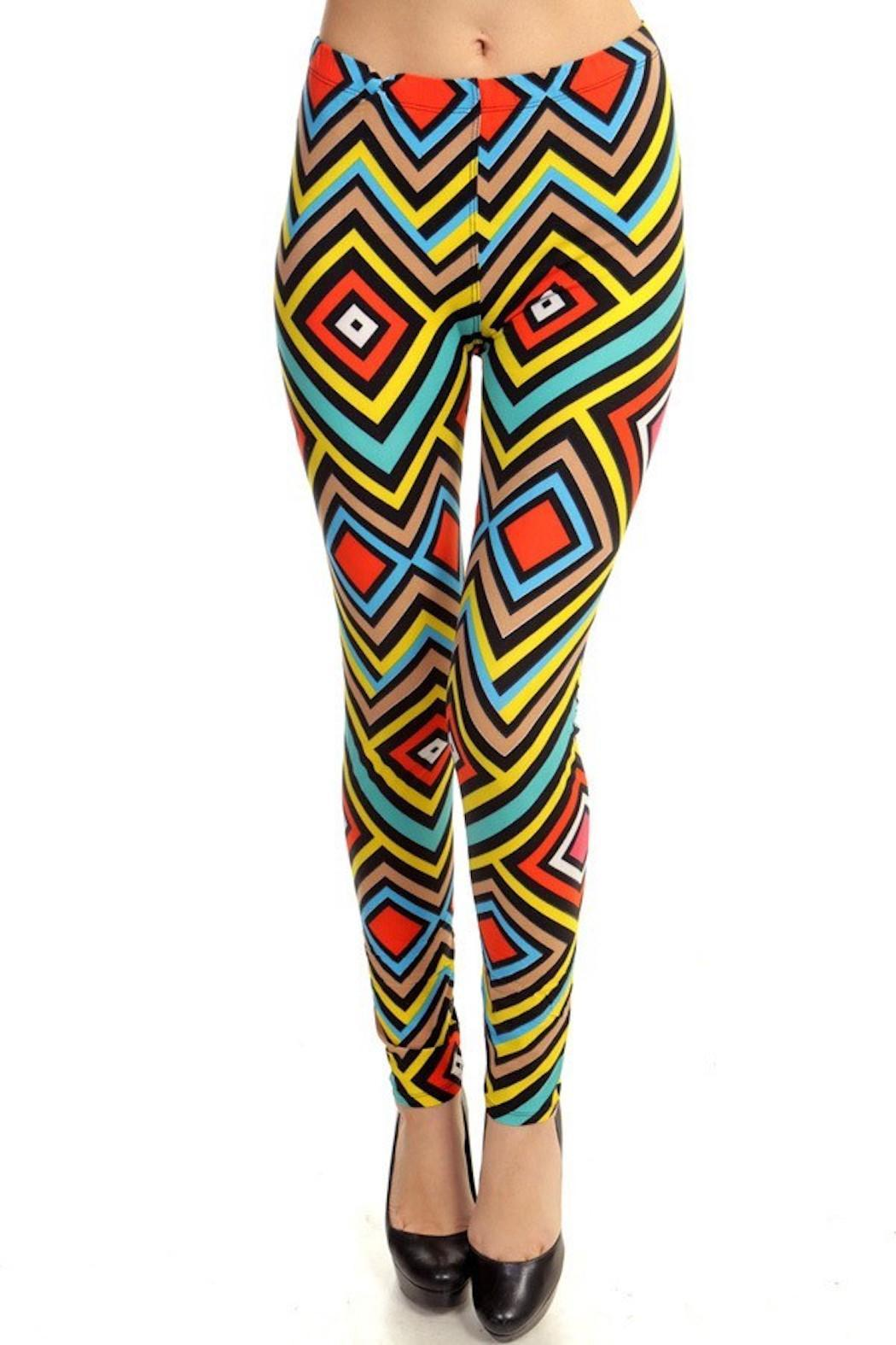 Fancy USA Geo Print Leggings - Front Cropped Image