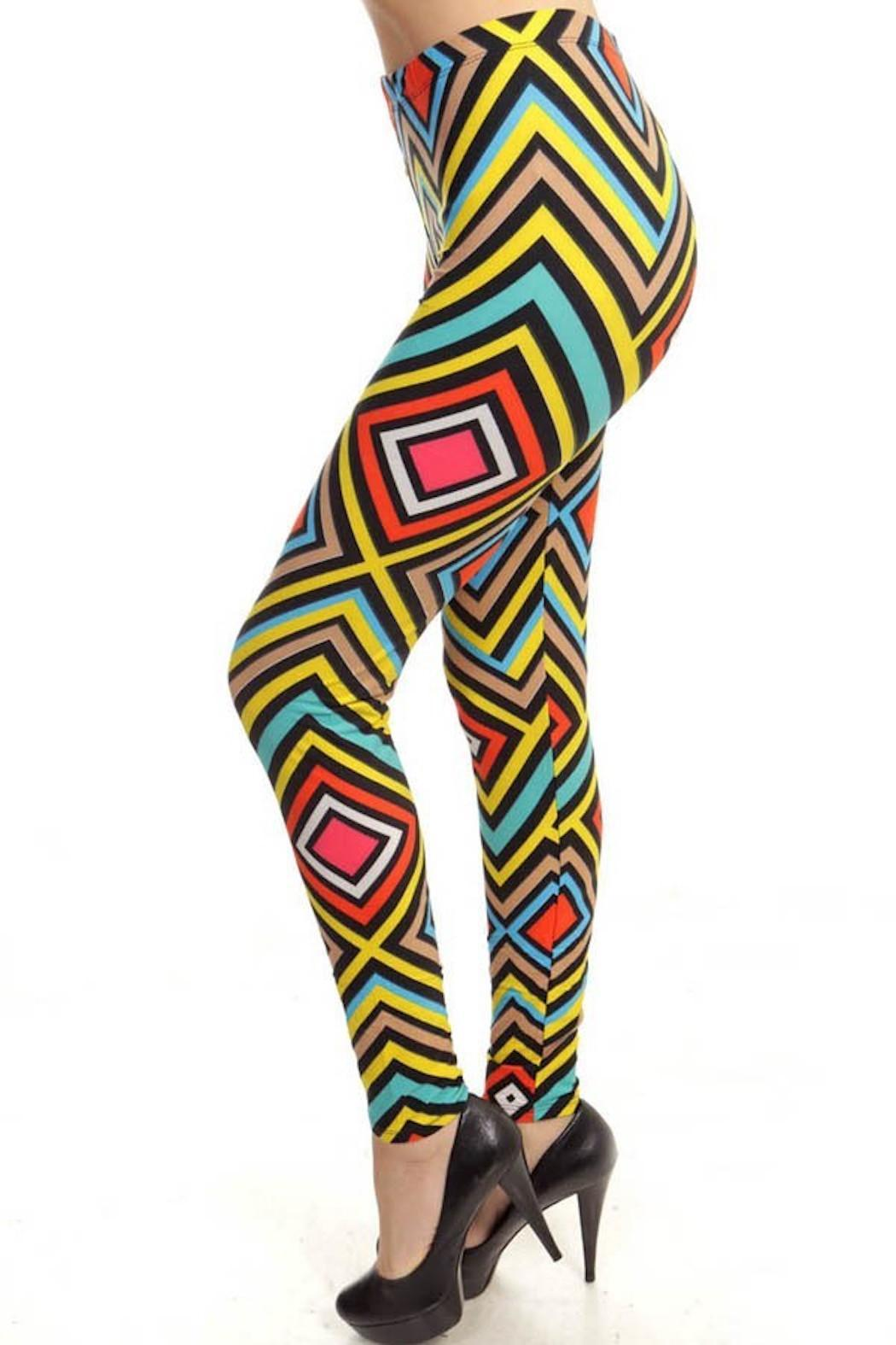 Fancy USA Geo Print Leggings - Front Full Image