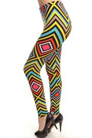 Fancy USA Geo Print Leggings - Front full body