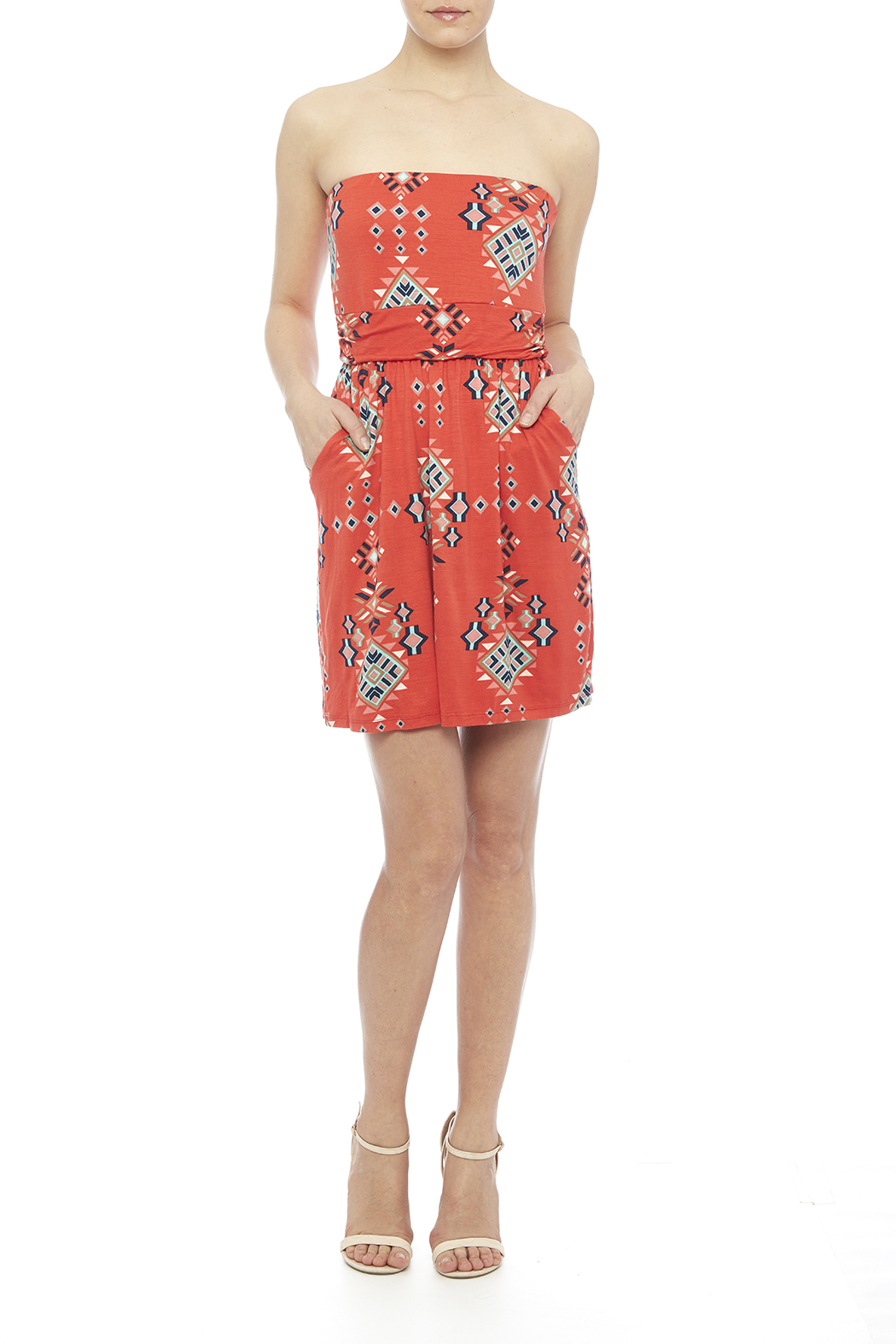 Fantastic Fawn Orange Pocket Dress - Front Full Image