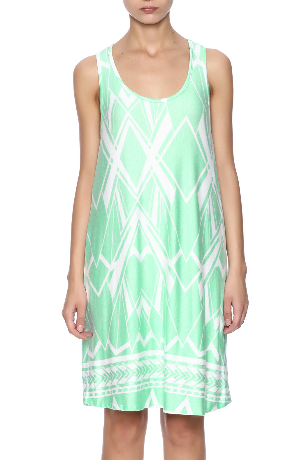 Fantastic Fawn Printed Mint Dress - Side Cropped Image