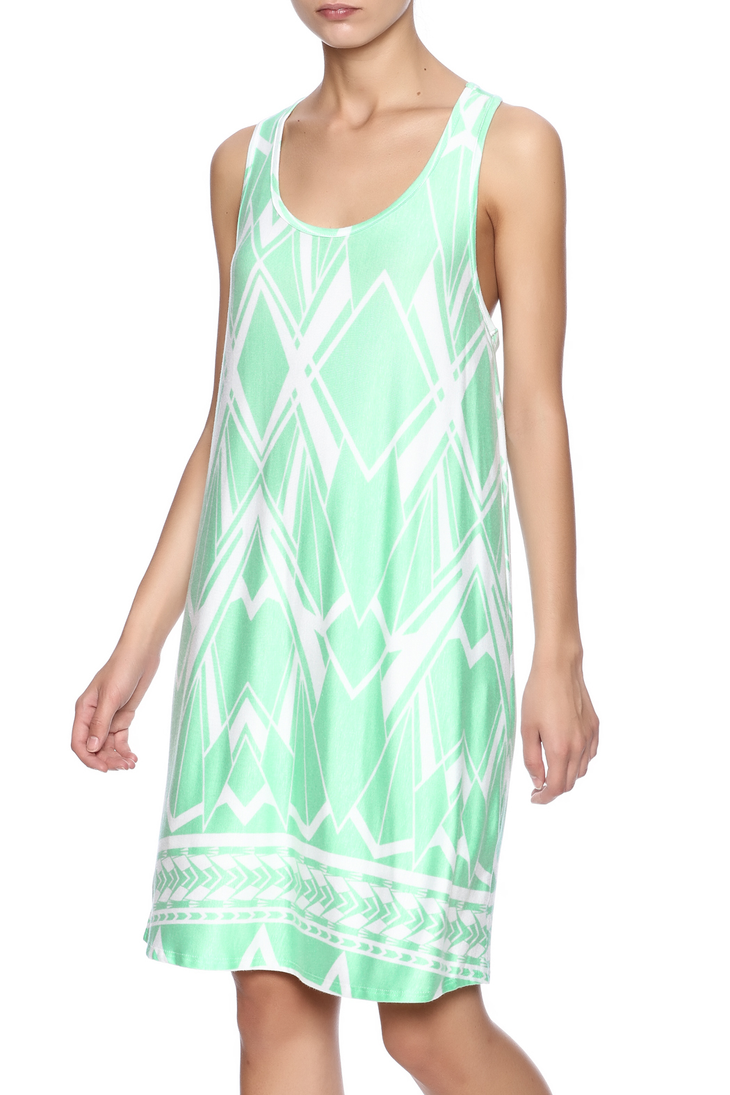 Fantastic Fawn Printed Mint Dress - Front Cropped Image