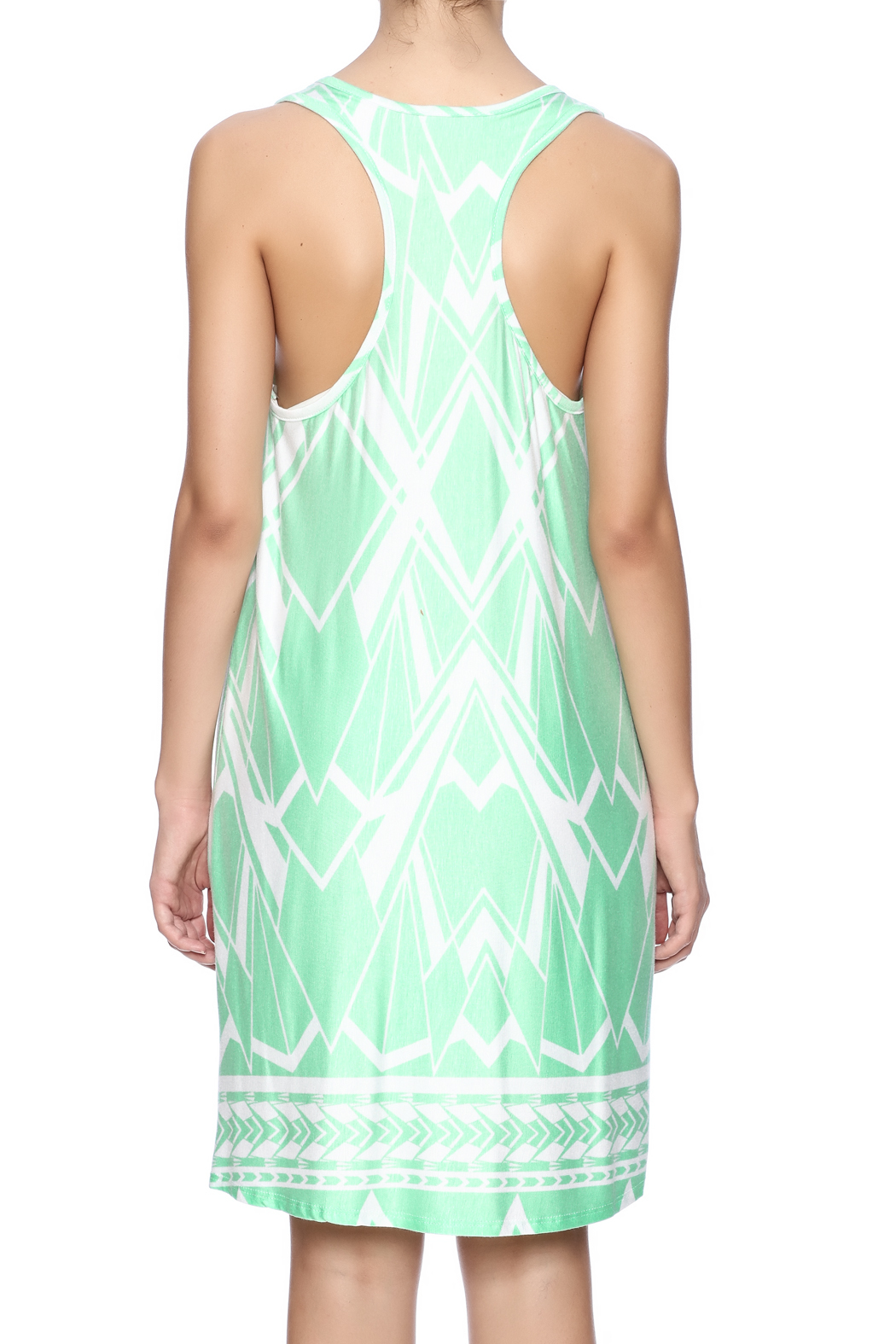 Fantastic Fawn Printed Mint Dress - Back Cropped Image