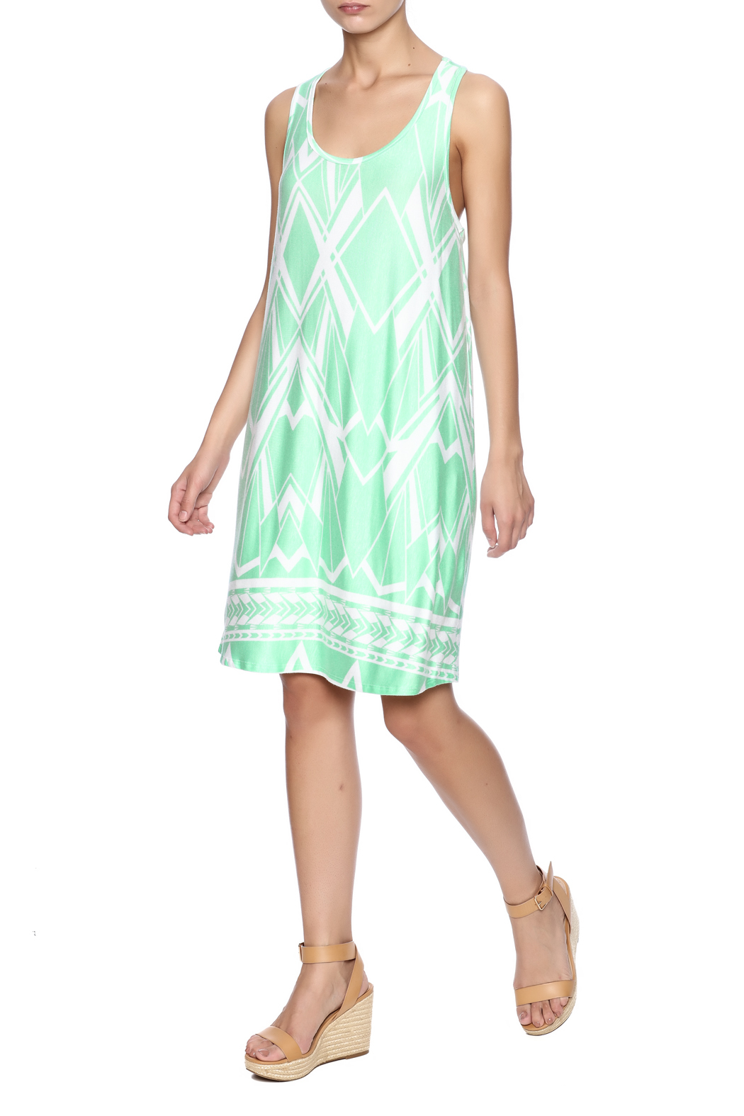 Fantastic Fawn Printed Mint Dress - Front Full Image