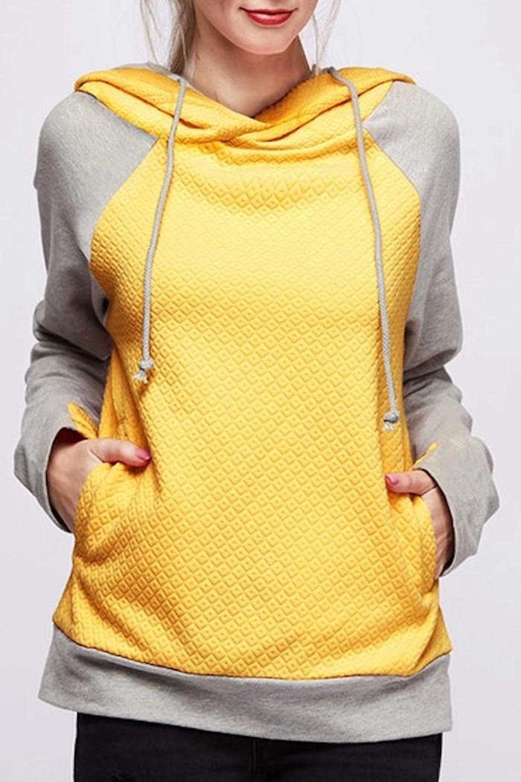 Fantastic Fawn Mustard Quilted Hoodie - Main Image