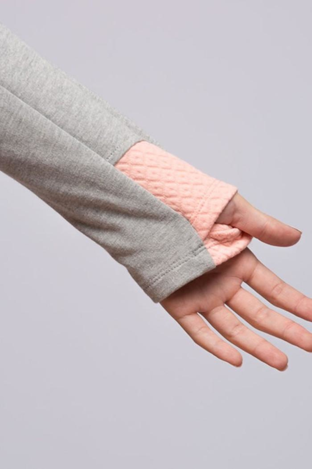 Fantastic Fawn Peach Quilted Hoodie - Front Full Image