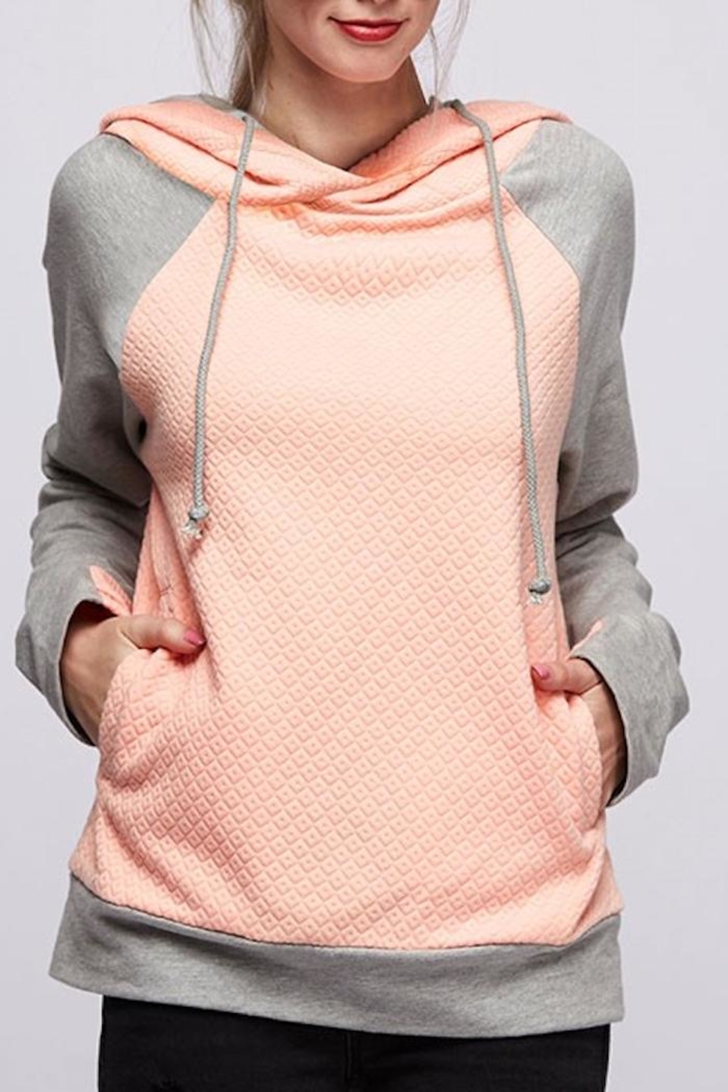 Fantastic Fawn Peach Quilted Hoodie - Main Image